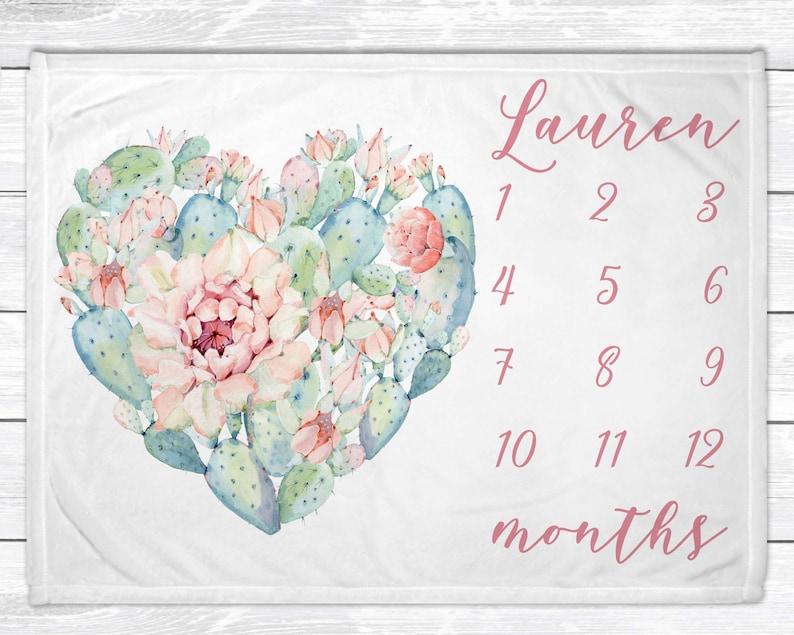 Baby Milestone Blanket  Cactus Nursery Decor  Baby Monthly image 0