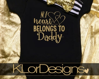 My Heart Belongs to Daddy, First Father's Day, Baby Girl, daddy's girl, father's day, baby girl clothes, first time dad