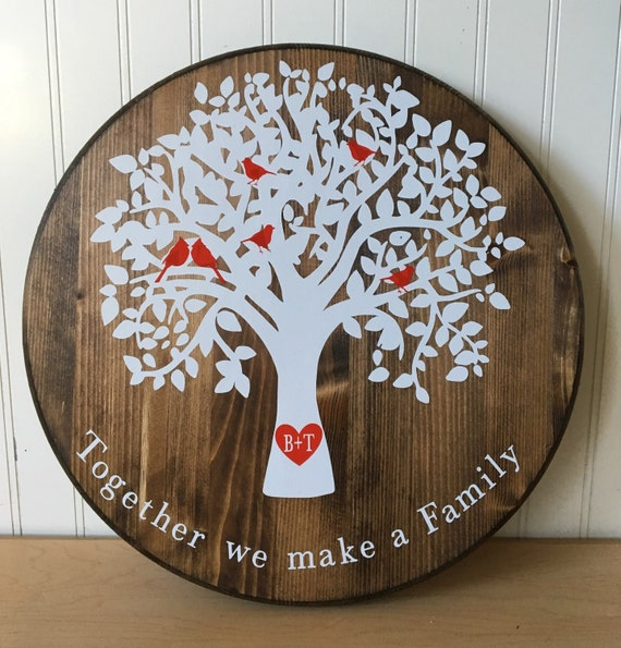 Wooden Circular Family Tree Personalized Wall Hanging Etsy