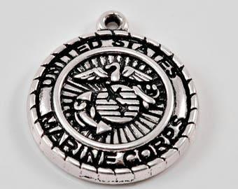 Antique Silver Tone United States Marine Corps Pendant Charm.. Marine Charms