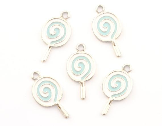 4 X Rosa Y Blanco Esmalte Plateado Plata Encantos Colgante Lollipop