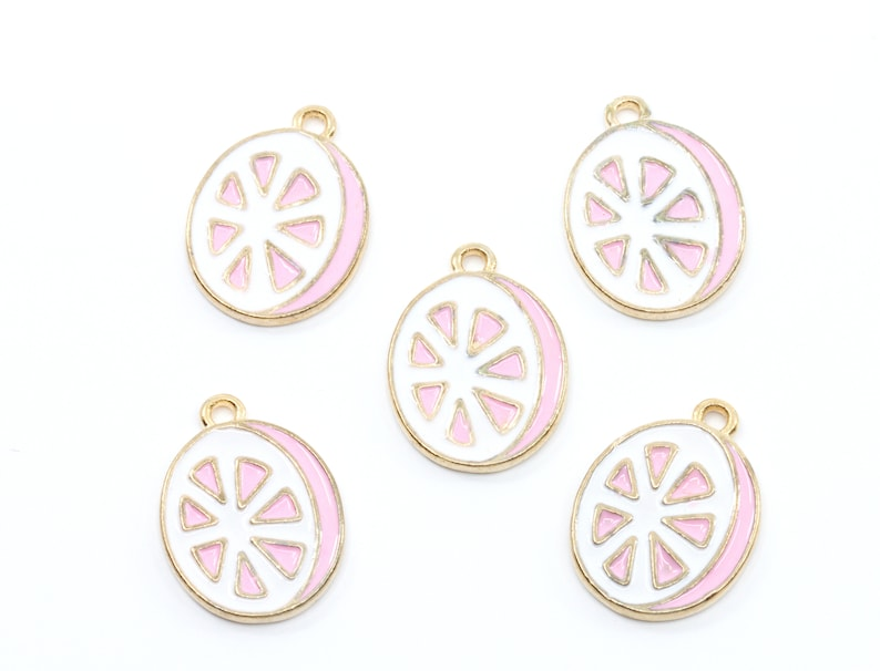 Pink Grapefruit Slice Gold Plated Enamel Charms...Lot of Five...Fruit Charms...Pink..