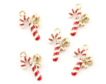White & Red Striped Candy Cane Gold Plated Enamel Charms with Rhinestone Detail...Lot of Five...Christmas Charms...Holiday Charms...