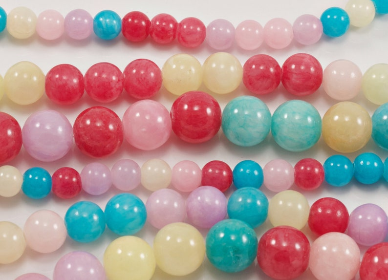 Springtime Mix Multi-Color Pink and Blue Jade Natural Stone Dyed Beads...6mm-10mm...Full Strand....Multi-Color Jade...