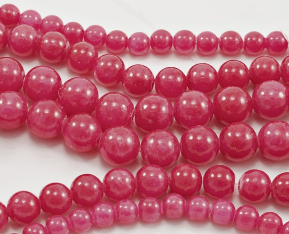 8mm faceted Green stone dyed Jade Stone Beads Lots Pink Jewellery Making 15/""