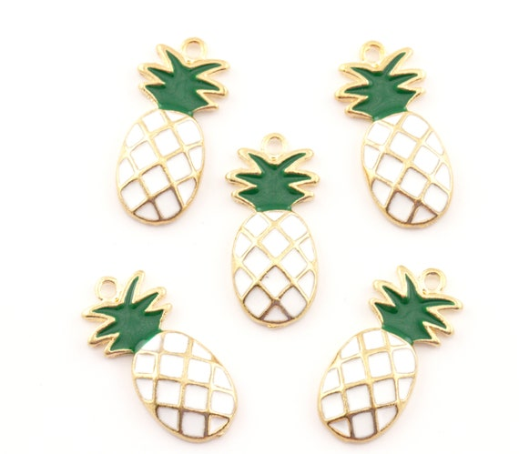 Pineapple Charm//Pendant Enamel /& Alloy Golden//Orange 10 x 25mm  5 Charms Crafts