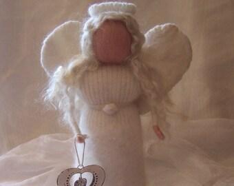 Xmas snow angel,Waldorf felt standing angel