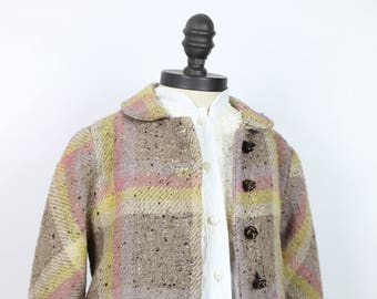 1950s NUBBY WOOL CHILDs wool plaid coat size 4 or 5