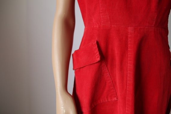 40s KAY WHITNEY RED dress corduroy size small - image 6