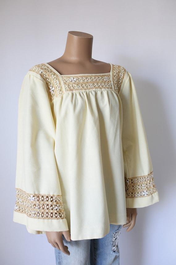 70s BOHO PEASANT SHIRT ivory embroidery handmade e