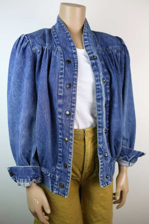 80s DENIM JACKET puffed sleeves jeans small