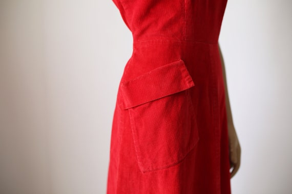 40s KAY WHITNEY RED dress corduroy size small - image 5