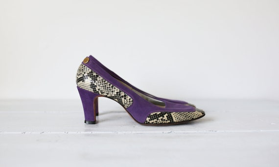 60s PURPLE SUEDE SNAKESKIN white & black snakeskin