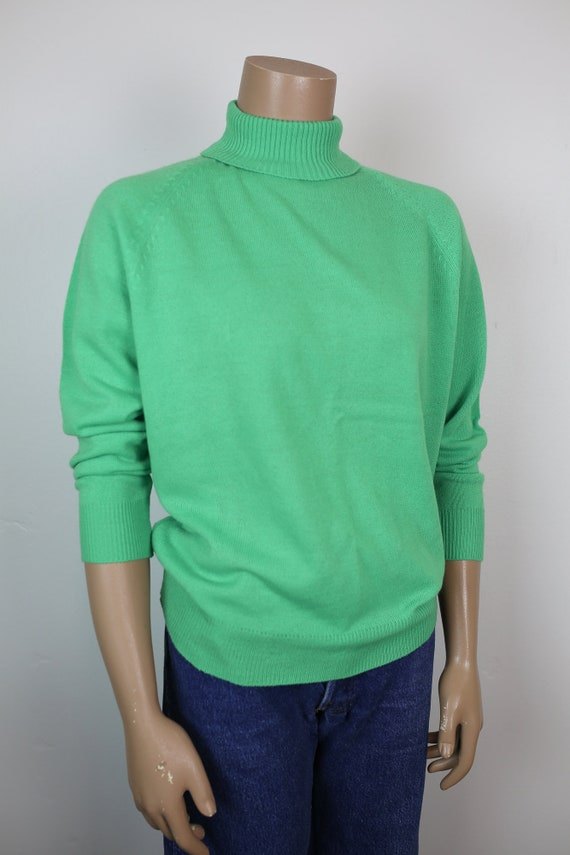 60s MOCK NECK SWEATER  mint green acrylic
