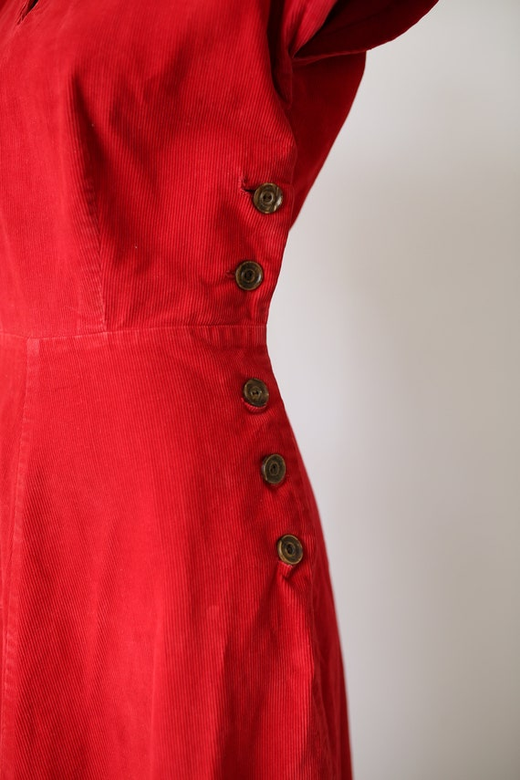 40s KAY WHITNEY RED dress corduroy size small - image 4