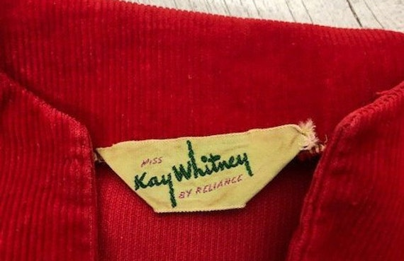 40s KAY WHITNEY RED dress corduroy size small - image 10