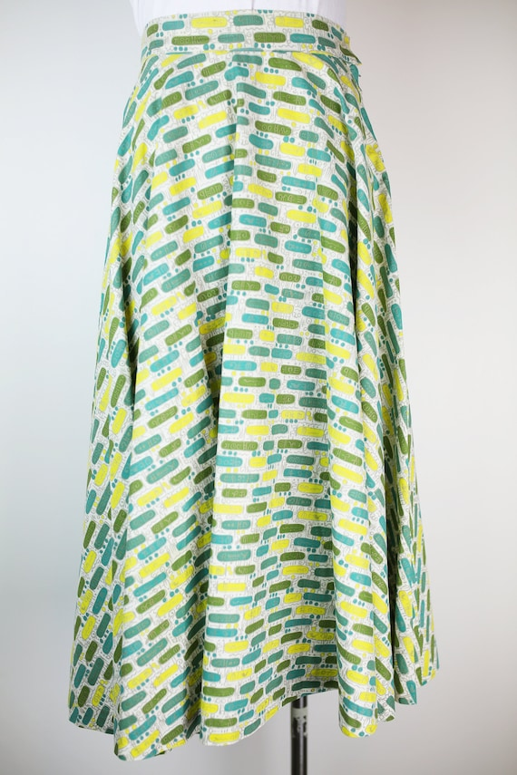 50s CIRCLE SKIRT abstract print cotton xs vintage