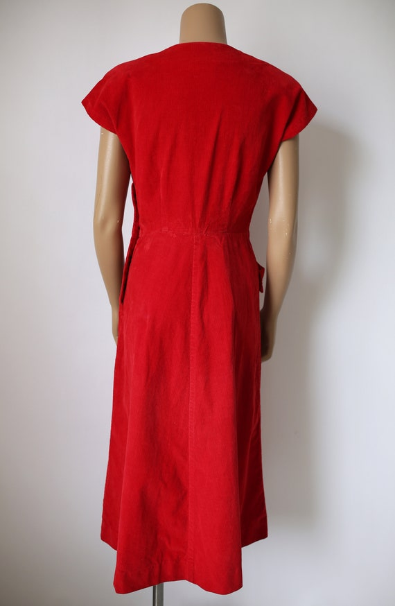 40s KAY WHITNEY RED dress corduroy size small - image 3