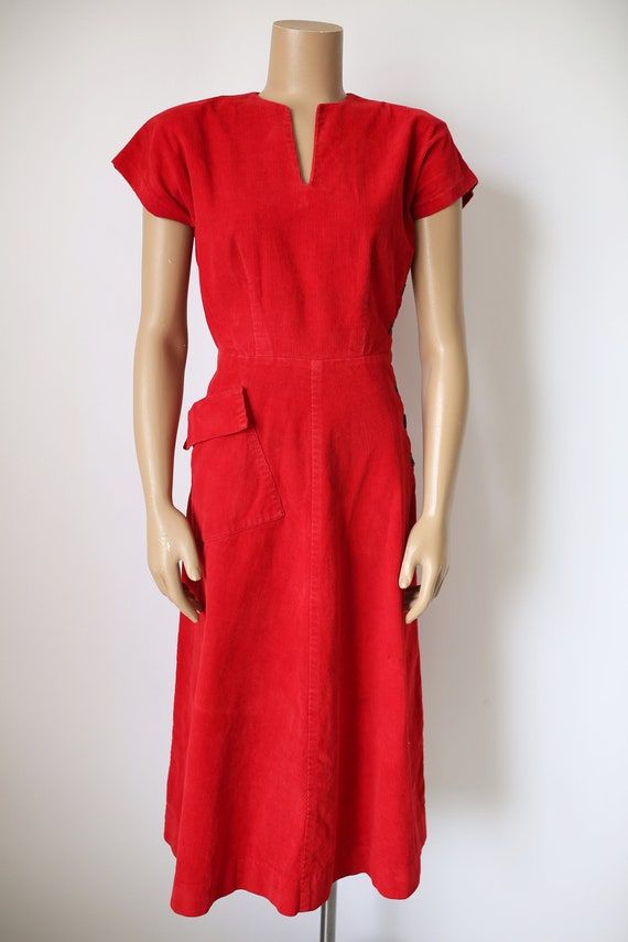 40s KAY WHITNEY RED dress corduroy size small