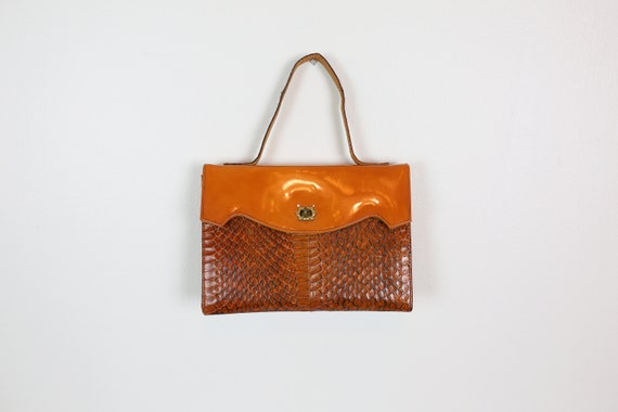 60s SNAKESKIN ORANGE PURSE patent leather handbag