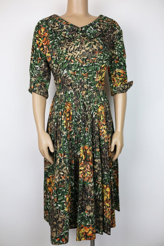 50s ALEXANDER LIPTON cotton dress 3/4 sleeves size