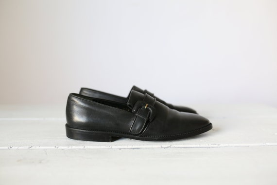 90s JOAN & DAVID LOAFERS black leather slip ons si