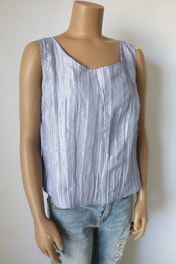 80s LAVENDER CRINKLED SHIRT I.C. by Connie