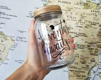 Adventure Awaits Travel Fund Jar, Wedding Gift, Anniversary Savings Mason Jar, Honeymoon Savings Jar, Adventure Travel Fund Piggy Bank