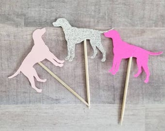 Pink Dog Cupcake Toppers 12 Party Theme Food Picks Glitter Cupcakes Bachelorette Birthday Valentines Day