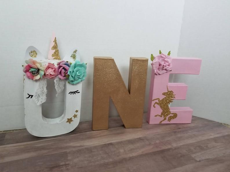 One Unicorn Birthday Prop Unicorn Birthday Picture Prop One Letter Birthday Set Unicorn Theme Birthday Stand Up One Letter Centerpiece