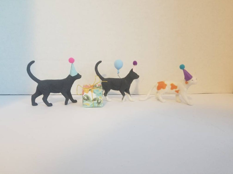 Pleasing Cat Party Cake Topper Set With Hats 3 Kitty Cat Theme Party Etsy Funny Birthday Cards Online Elaedamsfinfo