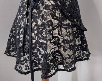 Black Romance Lace ballet wrap skirt, LARGE