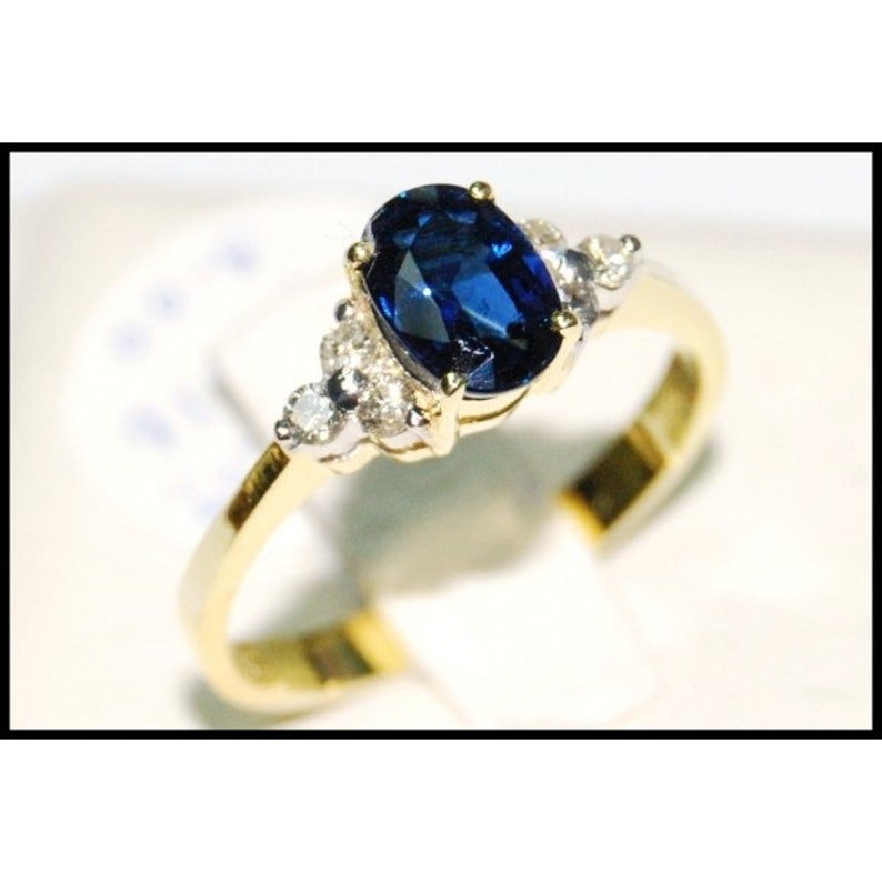 ad3b08cd2fa8 Natural azul zafiro diamante anillo de 18K amarillo oro