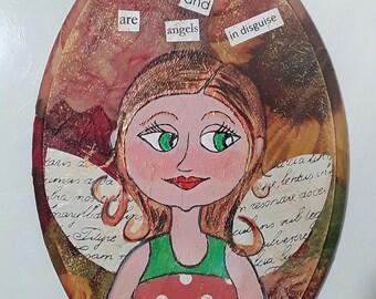 Mix Media Christmas illustration-art-painting-present-friendship angel-Christmas gift idea-art-painting-Angel of friendship