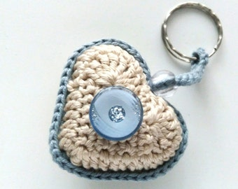 Crochet heart keychain for him Wedding gift for groom from bride Gift to groom Anniversary gifts for husband Gift ideas Heart charm keychain