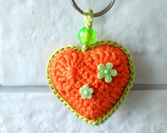Orange wedding favors Crochet heart keychain Love Gift for girlfriend Party favors for teens Pendant on the bag Charm keychain accessories