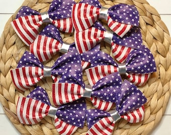 Fourth of July bow, red white and blue baby, American flag accessories, summer bow, baby headband, hair clip, toddler bow