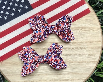 Glitter bow, Fourth of July, red white and blue, flag bow, baby headband, hair clip, baby photo shoot