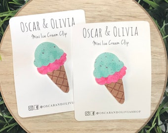 ice cream clip, hair clip, girl gift, ice cream birthday, snap clip, snap clip, mint chocolate chip