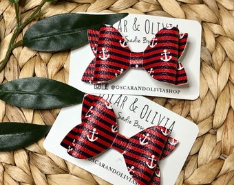 Nautical bow, Fourth of July, red white and blue, anchor bow, baby headband, hair clip, baby photo shoot