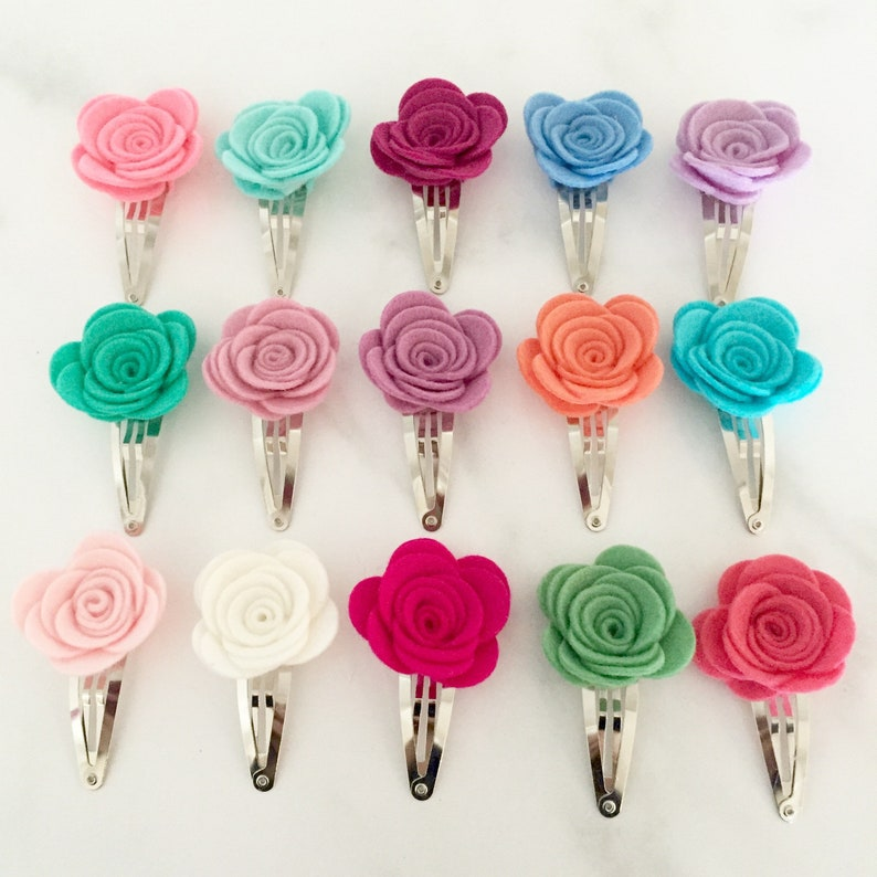 Toddler Hair Clips Rose Barrette Baby Barrettes Felt Clips Large Snap Clips Valentines Flower Hair Clips Rose Clips
