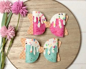 Ice cream bow, sprinkles, ice cream drip, glitter bow, large bow, double bow, Summer bow, hair clip, photo prop,
