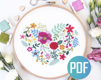 Heart Floral Cross Stitch Pattern PDF Modern Flower Cross Stitch Chart Flowers Embroidery