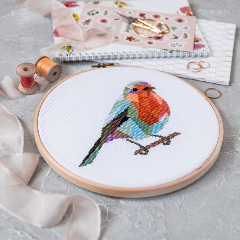 Geometric Design Great Craft or Gift Cross Stitch Kit Christmas Robin Easy DIY Embroidery