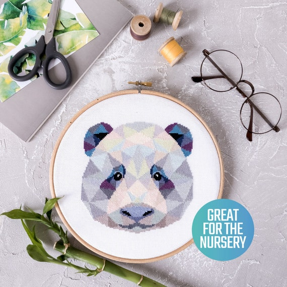 Panda Cross Stitch Pattern Pdf Geometric Panda Embroidery Etsy