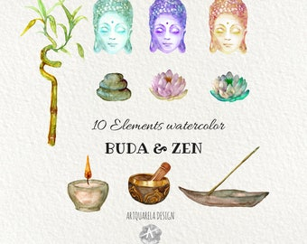 Watercolor clip Art Buddha.Lotus flower. Hand painted,Incense, Buddha Clip Art zen,Meditation  - Instant downloads - Printable, Wall Art