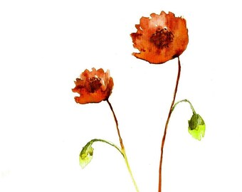 Printable Art Watercolor Poppies, Botanical Art,Poppies Art, Poppies Print Floral Print Art