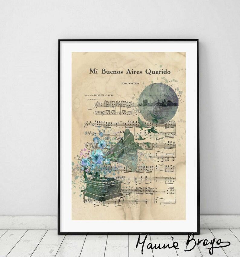 Mi Buenos Aires querido Tango Art Printable,Vintage Sheet Music Argentine  Dance,Instant Download, Scrapbook,Watercolor illustration tango