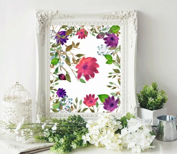 watercolor flower prints watercolor floral nursery wall etsy
