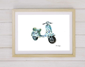 Printable Art Italian Vespa Print  Instant Download Digital Download, Italian Wall Art Scooter Print Vintage  Vespa Print  Flowers Wall Art